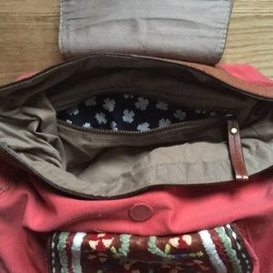 Lucky Brand Bags - Lucky Brand Embroidered Pink Canvas Messenger Bag